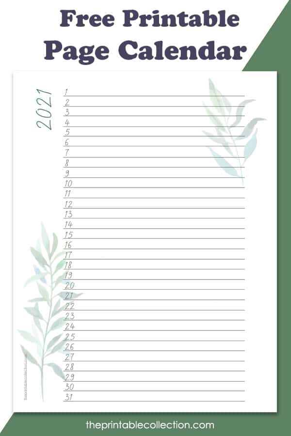 2021 Printable Lined Monthly Calendar With Watercolor ...