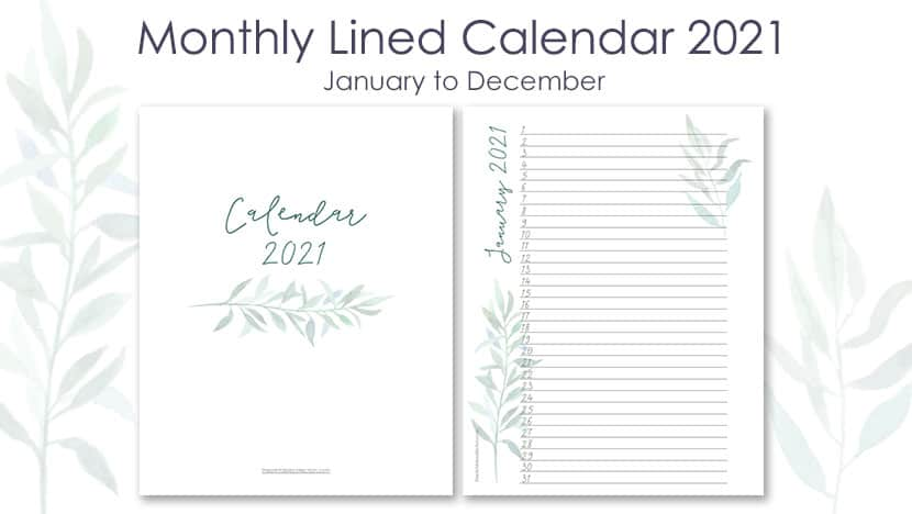 2021 Printable Lined Monthly Calendar With Watercolor Foliage {+