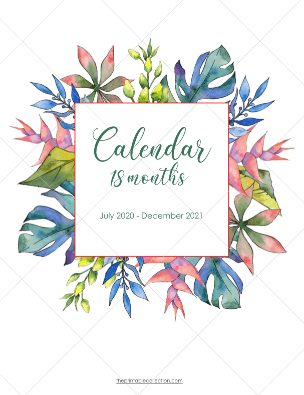 Printable Monthly Calendar 2021 With Watercolor Images ...