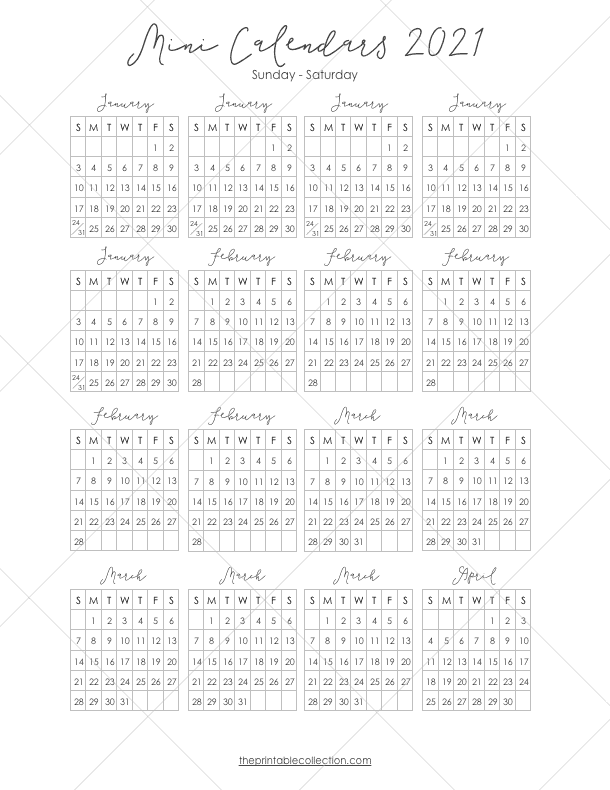 Free Printable 2021 Mini Calendar Stickers For Your ...